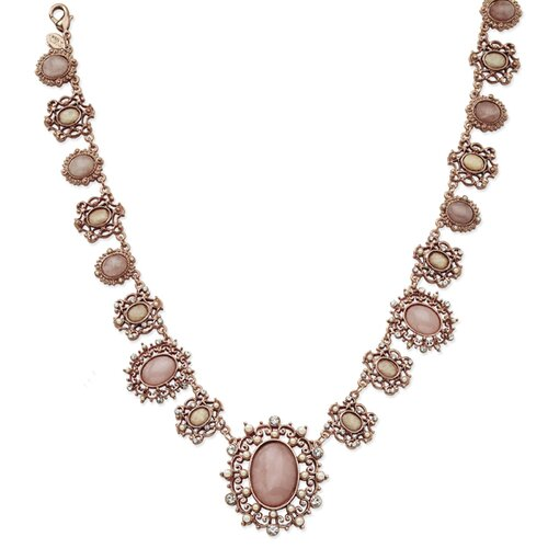 Rose-tone Crystal Glass Pearl Rose Quartz 15.5 In Necklace