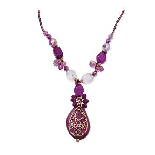 Rose-tone Dark Purple Crystal Baroque 16 Inch Necklace