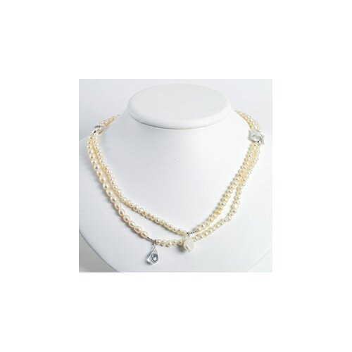 Jewelryweb Silver Clear Crystal White FW Cult. Pearl Necklace - 24 Inch- Lobster Claw