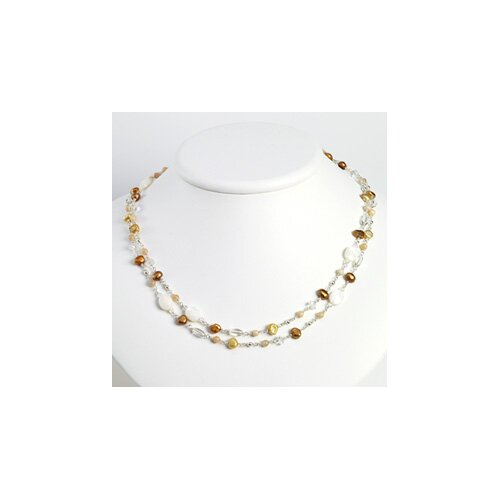 Jewelryweb Silver Moonstone MOP Cult. Pearls Quartz Necklace - 52 Inch