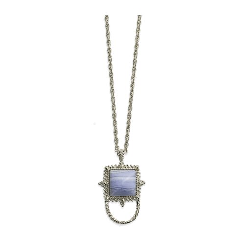 Jewelryweb Silver-tone Blue Lace Agate Eyewear 30 InchNecklace