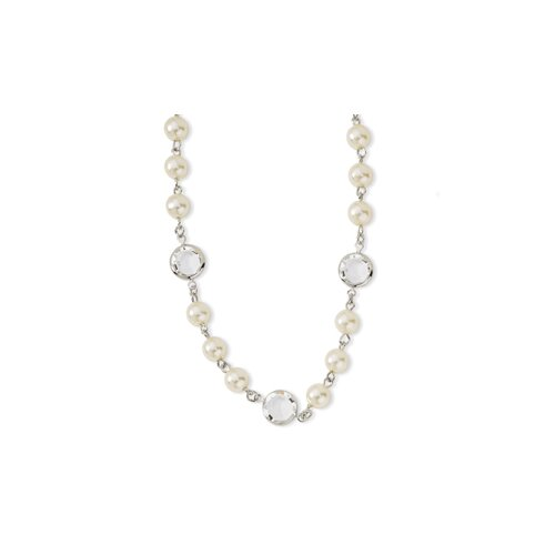 Jewelryweb Silver-tone Crystal Bezel Glass Pearl 16 In  Necklace