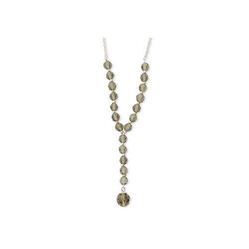 Silver-tone Smoke Crystal Beaded Y 16 Inch Necklace