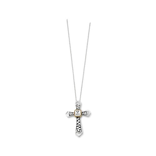 Jewelryweb Accent gold plating Antiqued Cross 18in Necklace 18 Inch