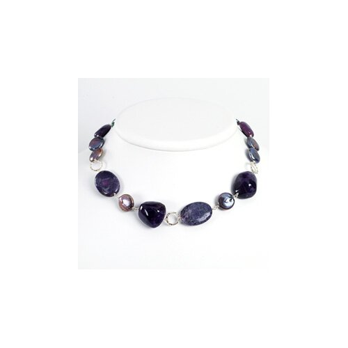 Jewelryweb Amethyst Charoite Purple Cultured Pearl Necklace - 18 Inch- Lobster Claw
