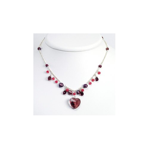 Jewelryweb Amethyst Siam Crystal Qtz Prpl Cult. Pearl Necklace 16 In - Lobster Claw