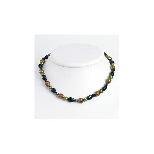 Jewelryweb Dk Grn Dk Purple Green Olivine Cultured Pearl Necklace 16 In - Lobster Claw