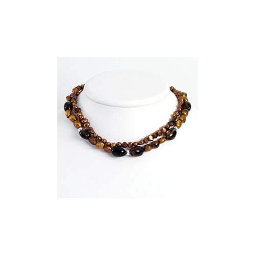 Golden Brown Cultured Pearls Smoky Quartz Necklace - 16 Inch- Lobster Claw