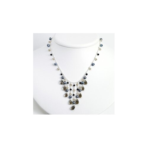 Jewelryweb Grey Cult. Pearl Smokey Jet Crystal Necklace - 16 Inch- Lobster Claw