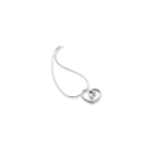 White Ice .02ct Diamond Heart Necklace - 18 Inch