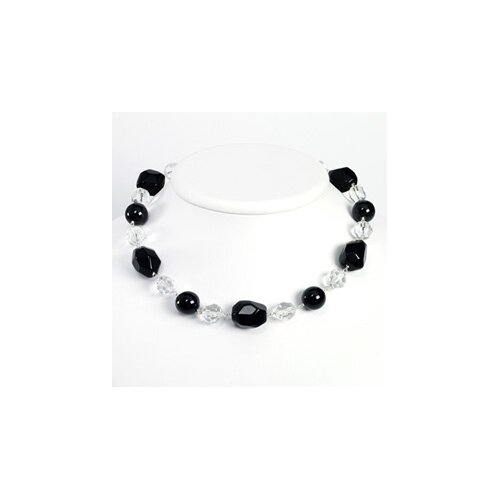 St. Silver Clear Crystal Onyx Black Agate Necklace - 19 Inch- Lobster Claw