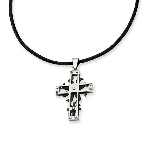 Jewelryweb Stainless Steel Black IP-plated Spinner Cross Pendant18 In