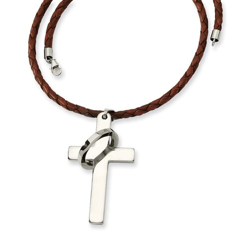 Stainless Steel Cross PendantNecklace - 18 Inch