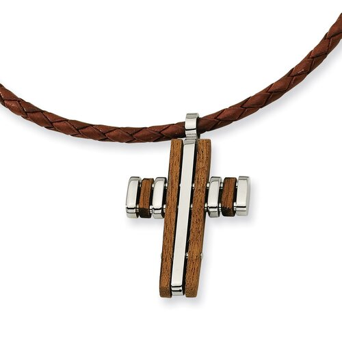 Stainless Steel Wood Accent Cross PendantNecklace - 18 Inch