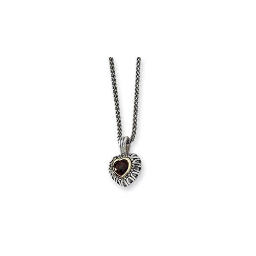 Jewelryweb Ste. Silver 14k 7mmGarnet Antiqued Heart Necklace - 18 Inch