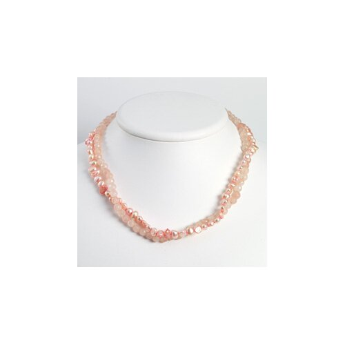 Ste. Silver Peach Cultured Pearl Rose Quartz Necklace - 16 Inch- Lobster Claw
