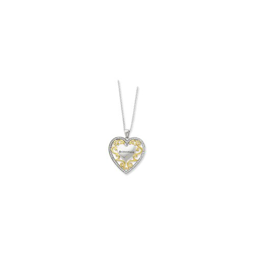 Ster. Silver Accent gold plating CZ Heart Necklace - 18 Inch