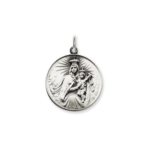 Jewelryweb Ster. Silver Antiqued Our Lady of the Holy Scapular Pendant