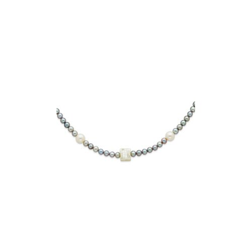 Ster. Silver Grey White Cultured Pearls MOP Necklace - 24 Inch- Pearl Clasp