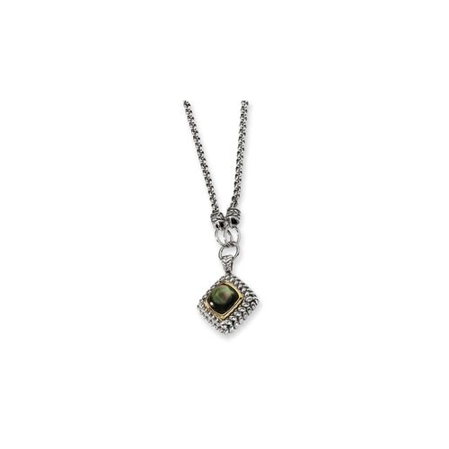 Sterling Silver 14k Yellow 11mmBlack MOP Necklace - 18 Inch