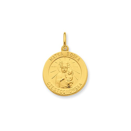 Jewelryweb Sterling Silver 24k Gold -plated Matka Boska Medal Pendant