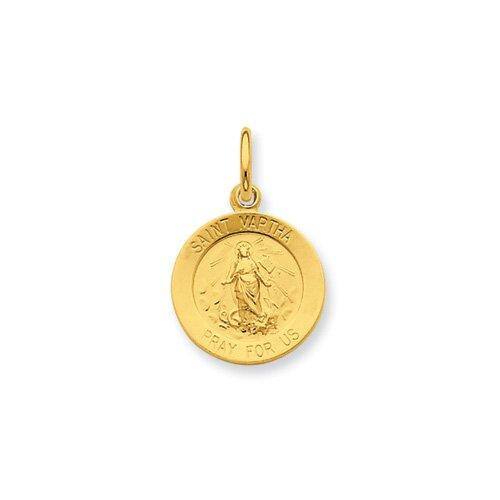 Jewelryweb Sterling Silver 24k Gold -plated Saint Martha Medal Pendant