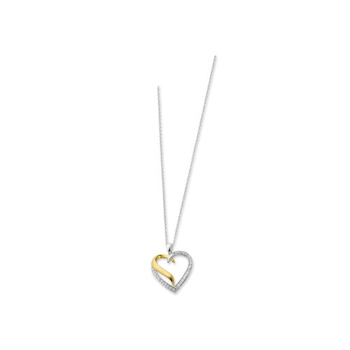 Sterling Silver Accent gold plating Heart Necklace - 18 Inch