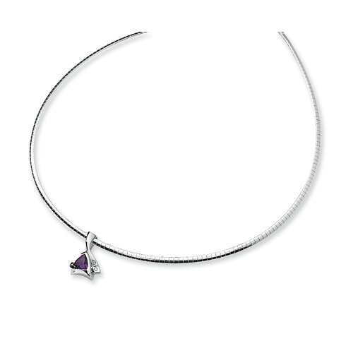 Sterling Silver Amethyst and Diamond Slide Necklace