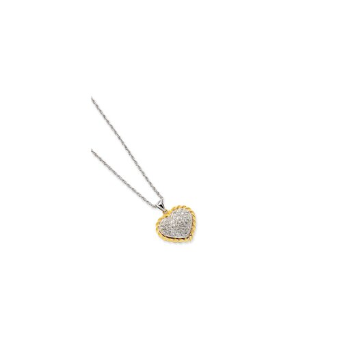 Sterling Silver and 14K Diamond-Cut Heart Necklace - 18 Inch