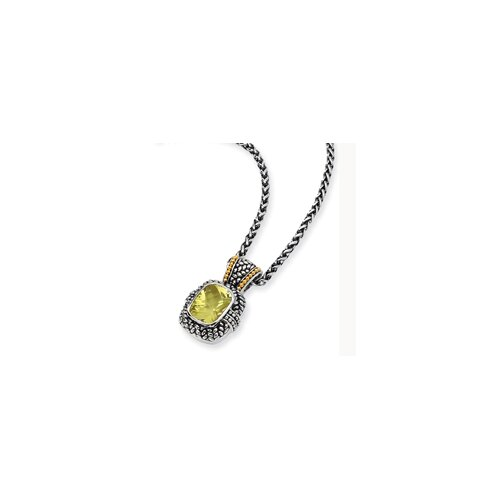 Sterling Silver and 14k Yellow Lemon Quartz 18 InchPendant