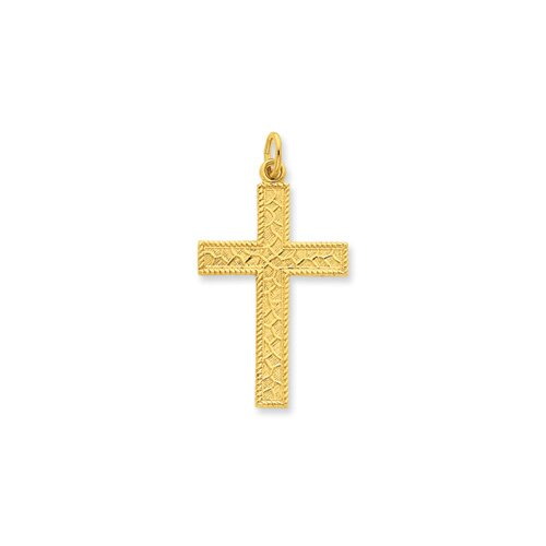 Jewelryweb Sterling Silver and 24k Gold -plated Latin Cross Pendant