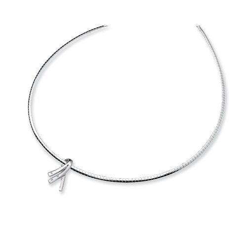 Sterling Silver and Diamond Awareness Ribbon Slide Necklace
