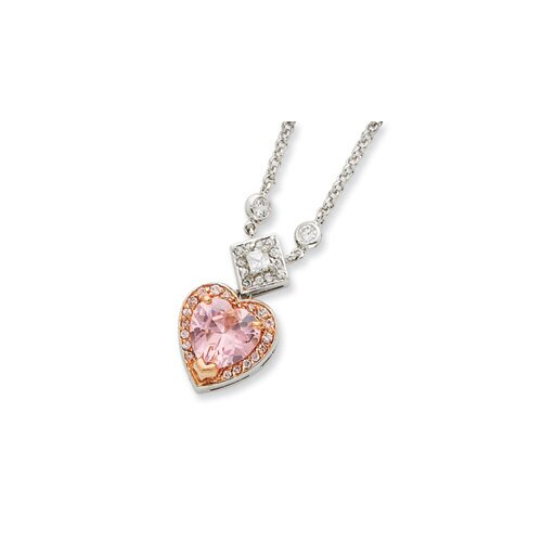 Jewelryweb Sterling Silver and Pink Vermeil CZ Heart Necklace - 16 Inch- Spring Ring