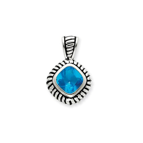 Jewelryweb Sterling Silver Antiqued Blue Glass Pendant