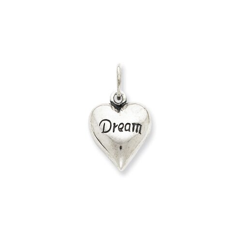 Jewelryweb Sterling Silver Antiqued Dream Heart Pendant