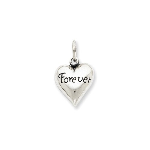 Jewelryweb Sterling Silver Antiqued Forever Pendant