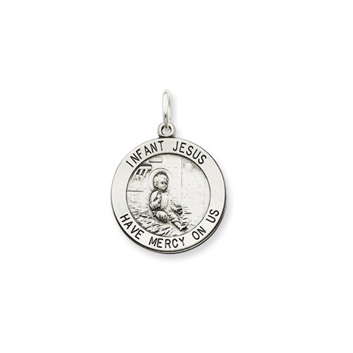 Jewelryweb Sterling Silver Antiqued Infant Jesus Medal Pendant