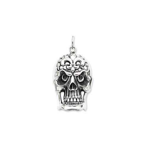 Jewelryweb Sterling Silver Antiqued Skull Pendant
