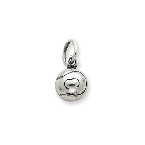 Sterling Silver Antiqued Tennis Ball Char Pendant