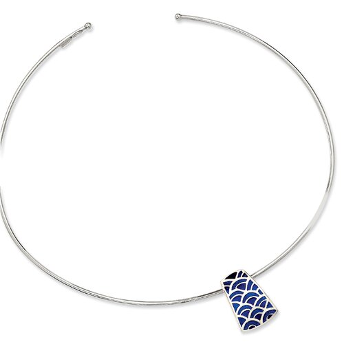 Jewelryweb Sterling Silver Blue Resin Fancy Slide Collar Necklace