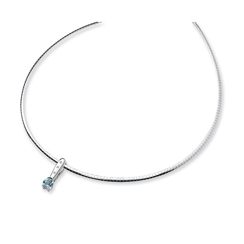 Jewelryweb Sterling Silver Blue Topaz and Diamond Slide Necklace