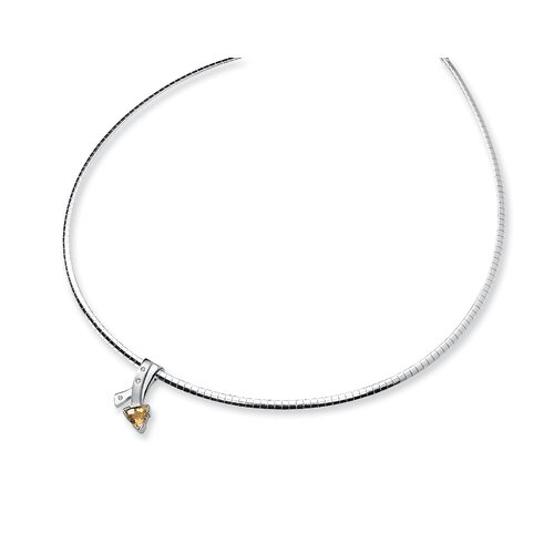 Jewelryweb Sterling Silver Citrine and Diamond Slide Necklace