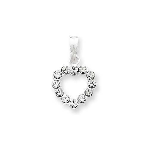 Jewelryweb Sterling Silver Clear CZ Heart Pendant