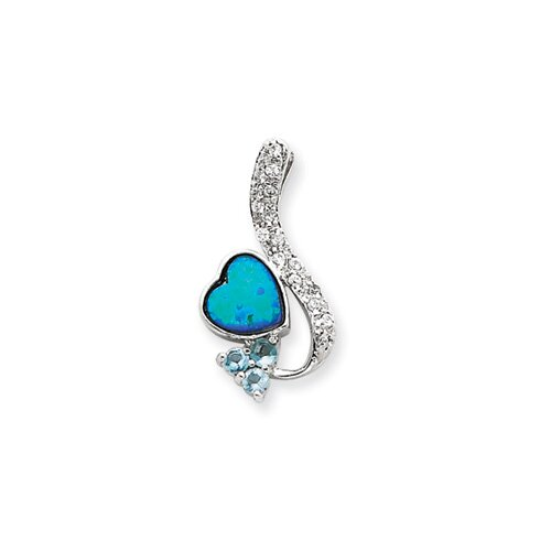 Jewelryweb Sterling Silver Created Opal and Blue CZ Pendant