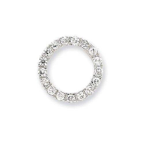 Jewelryweb Sterling Silver CZ Chain Slide Pendant