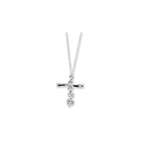 Sterling Silver CZ Cross Journey Necklace - 18 Inch- Spring Ring