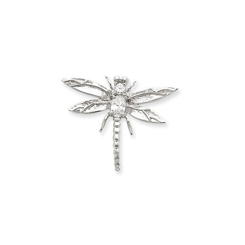 Jewelryweb Sterling Silver CZ Dragonfly Pendant