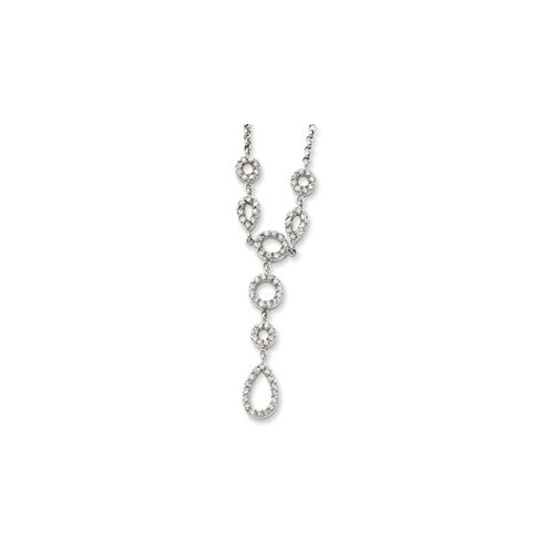 Sterling Silver CZ Drop Necklace - 16 Inch- Spring Ring