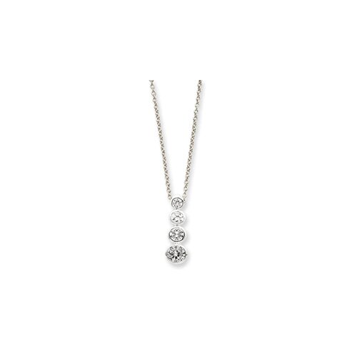 Jewelryweb Sterling Silver CZ Journey Necklace - 18 Inch- Spring Ring