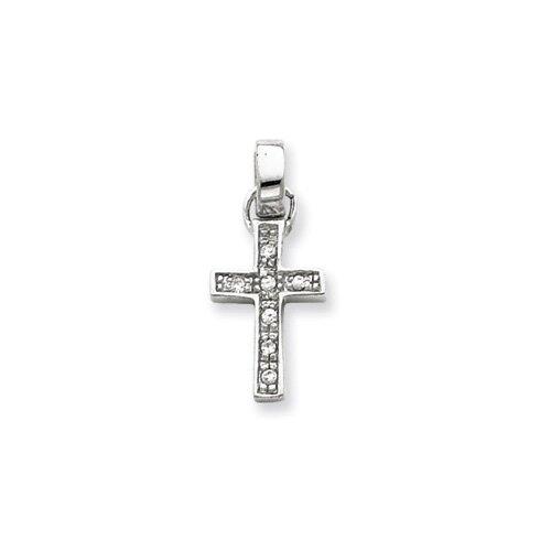 Jewelryweb Sterling Silver CZ Latin Cross Pendant